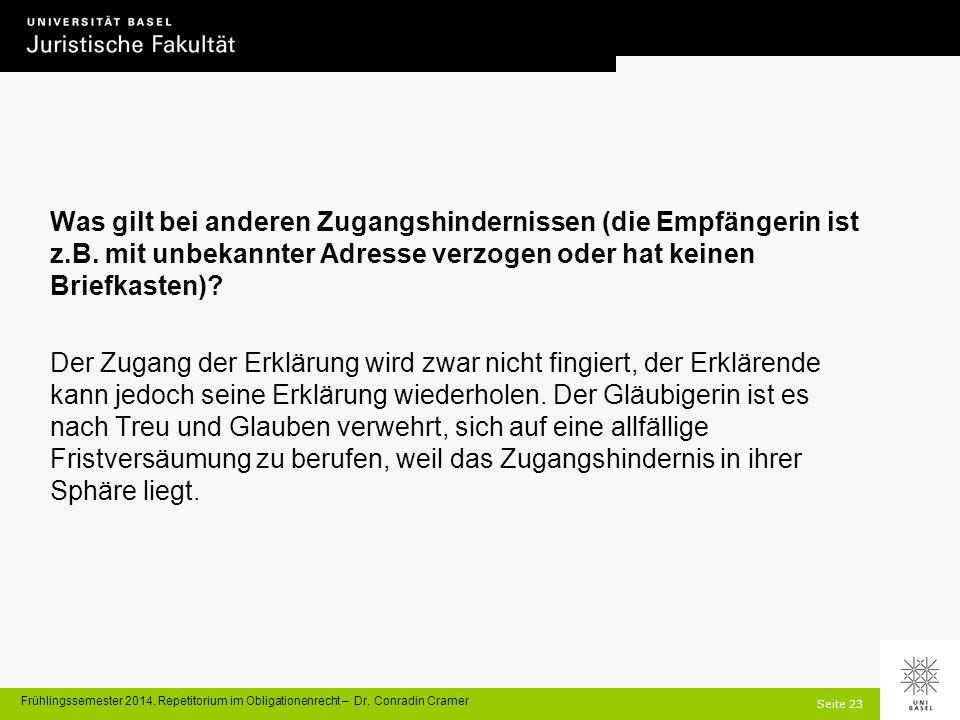 Seite 23 Frühlingssemester 2014, Repetitorium im Obligationenrecht – Dr.