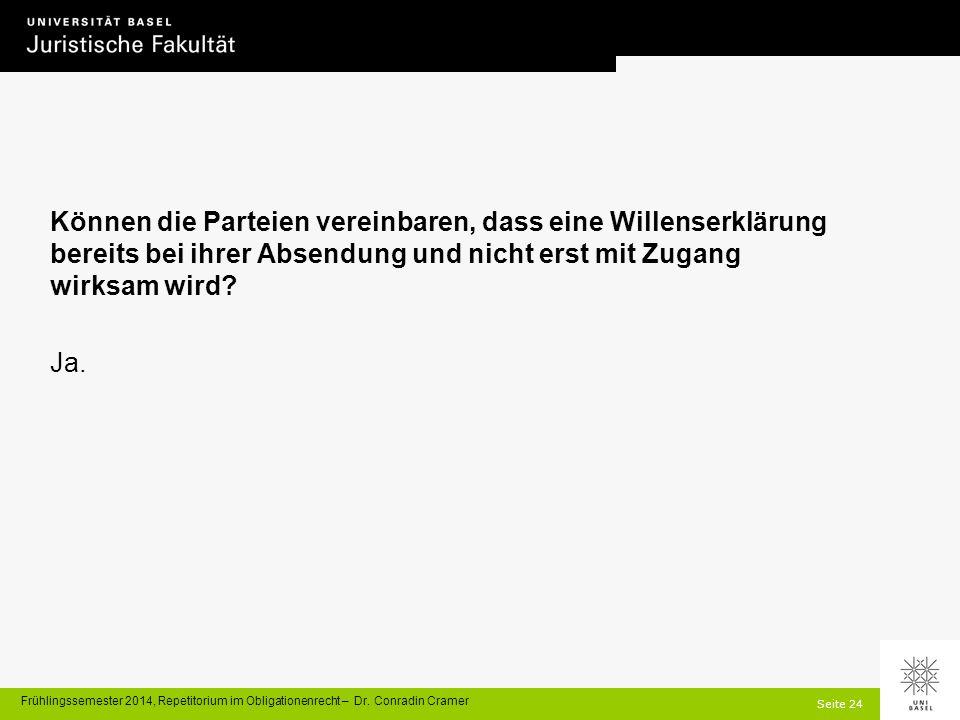 Seite 24 Frühlingssemester 2014, Repetitorium im Obligationenrecht – Dr.