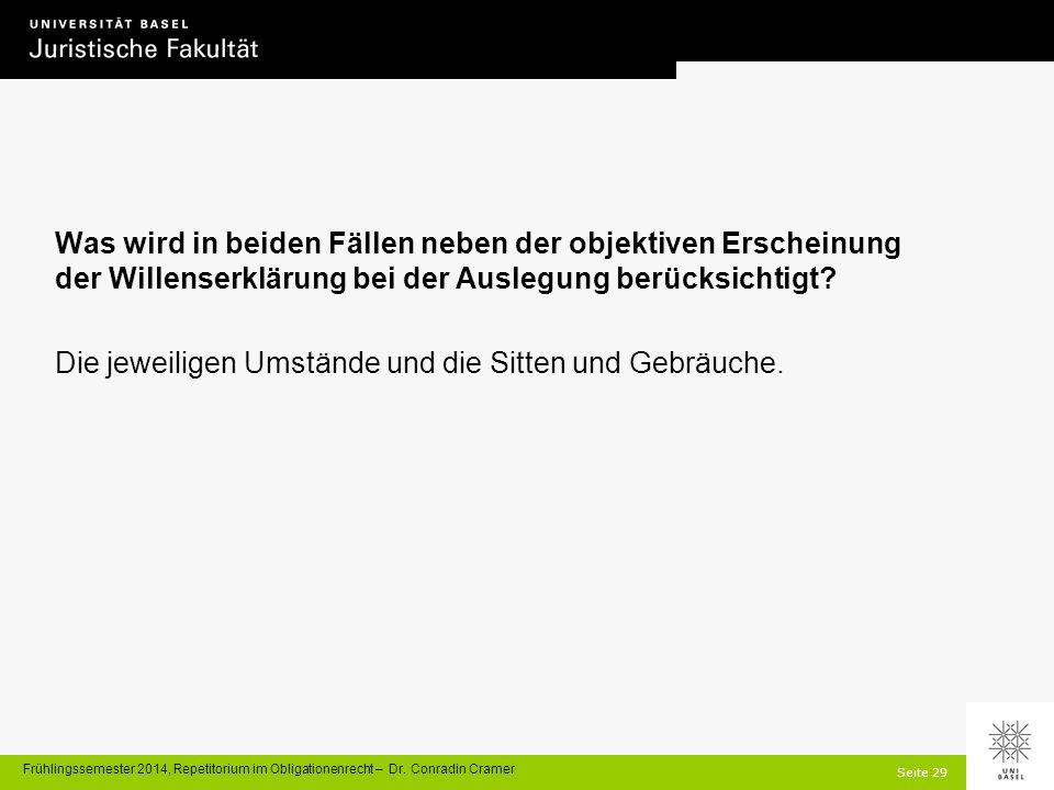 Seite 29 Frühlingssemester 2014, Repetitorium im Obligationenrecht – Dr.