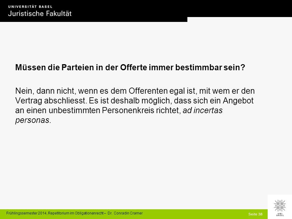 Seite 38 Frühlingssemester 2014, Repetitorium im Obligationenrecht – Dr.