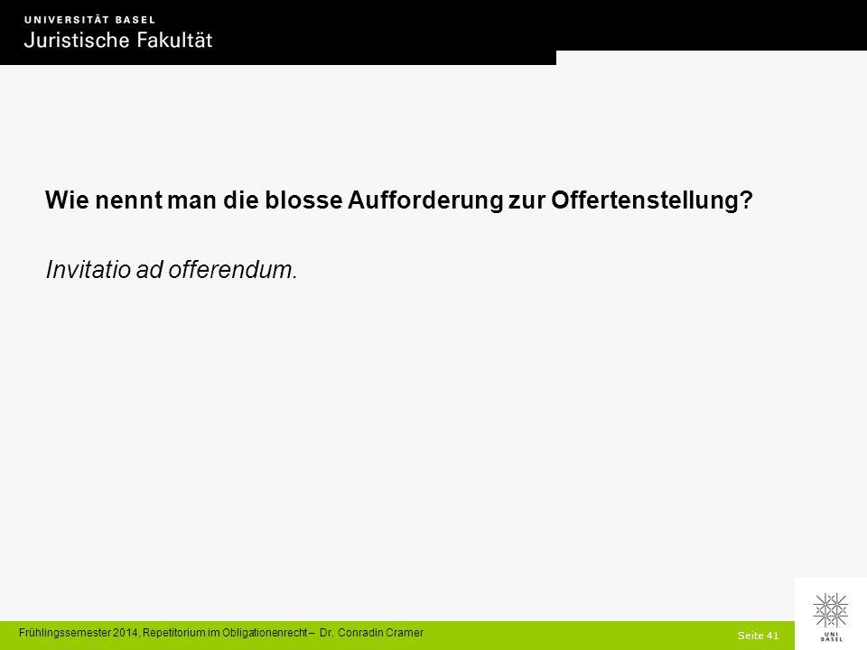 Seite 41 Frühlingssemester 2014, Repetitorium im Obligationenrecht – Dr.