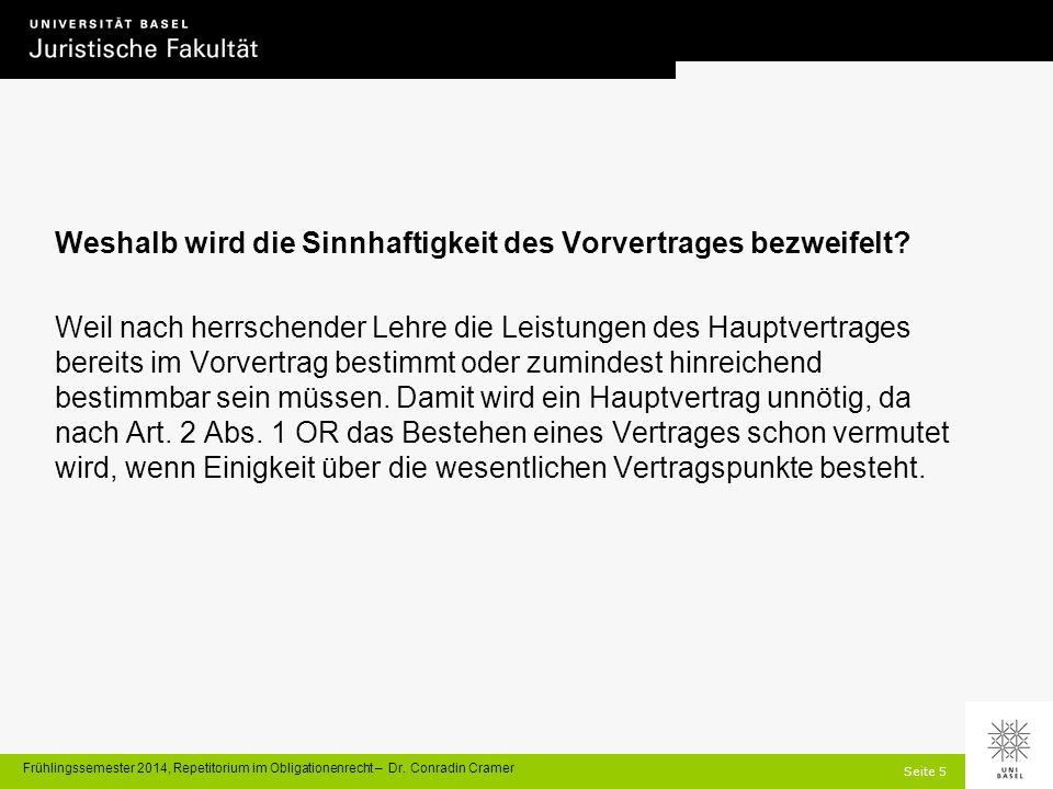 Seite 26 Frühlingssemester 2014, Repetitorium im Obligationenrecht – Dr.