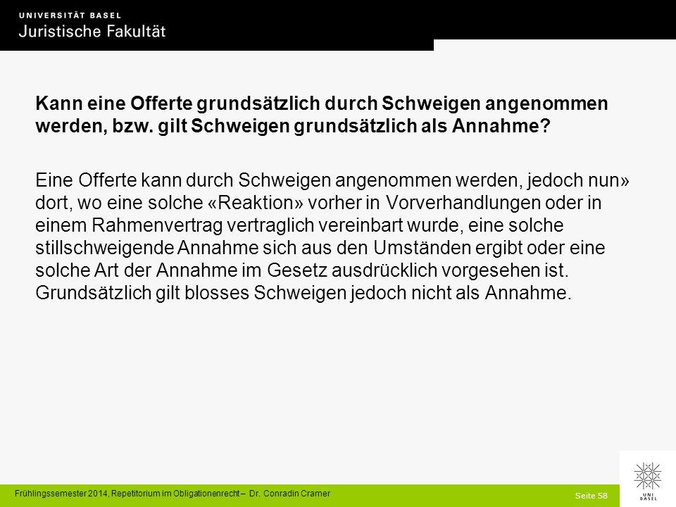 Seite 58 Frühlingssemester 2014, Repetitorium im Obligationenrecht – Dr.