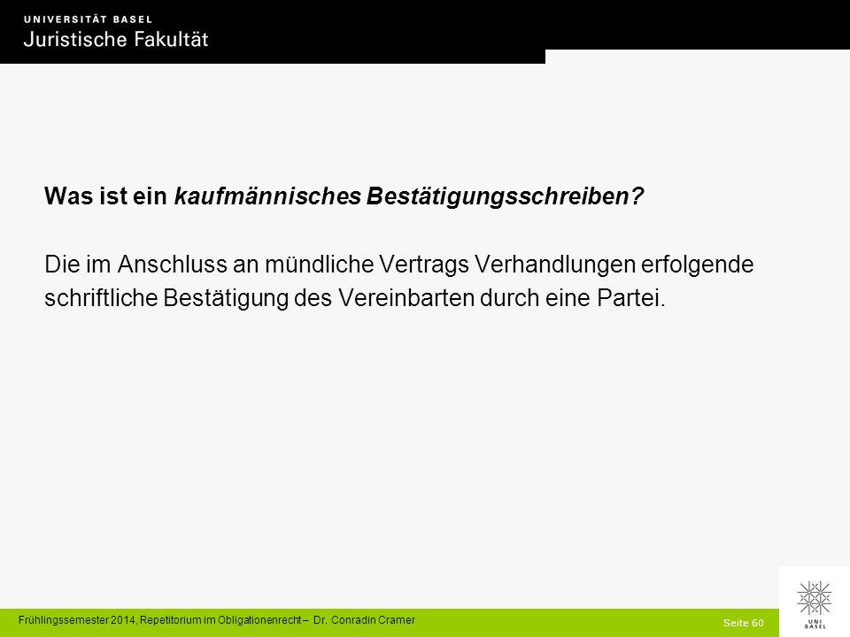 Seite 60 Frühlingssemester 2014, Repetitorium im Obligationenrecht – Dr.