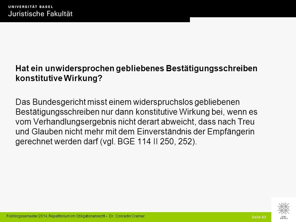 Seite 63 Frühlingssemester 2014, Repetitorium im Obligationenrecht – Dr.