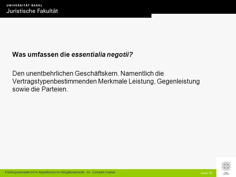 Seite 76 Frühlingssemester 2014, Repetitorium im Obligationenrecht – Dr.