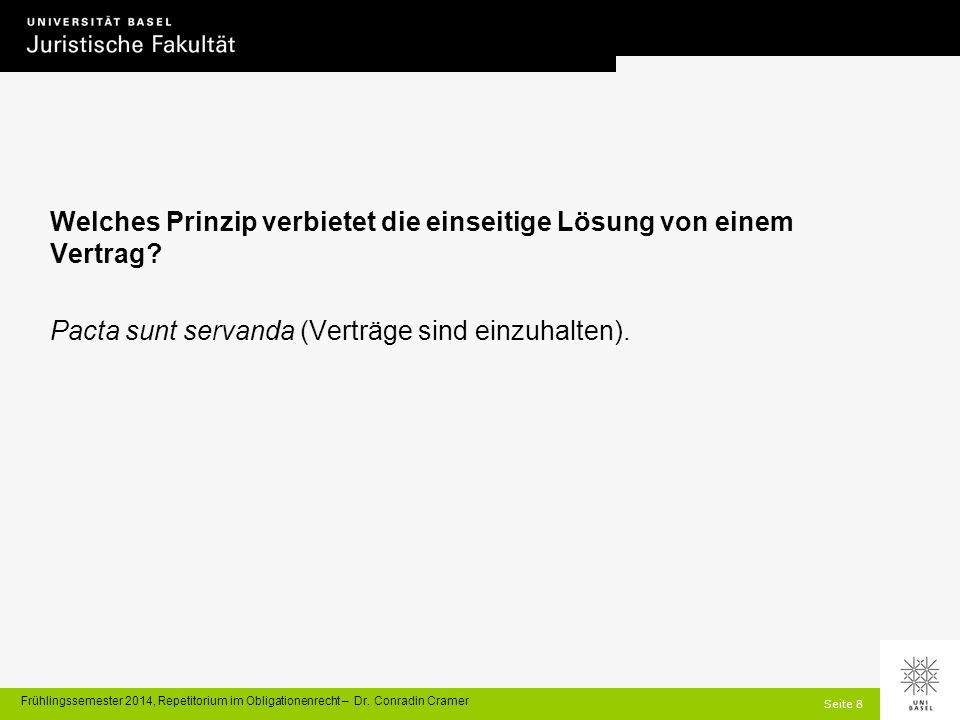 Seite 99 Frühlingssemester 2014, Repetitorium im Obligationenrecht – Dr.