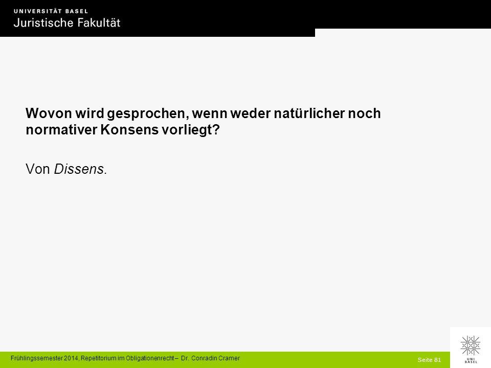 Seite 81 Frühlingssemester 2014, Repetitorium im Obligationenrecht – Dr.