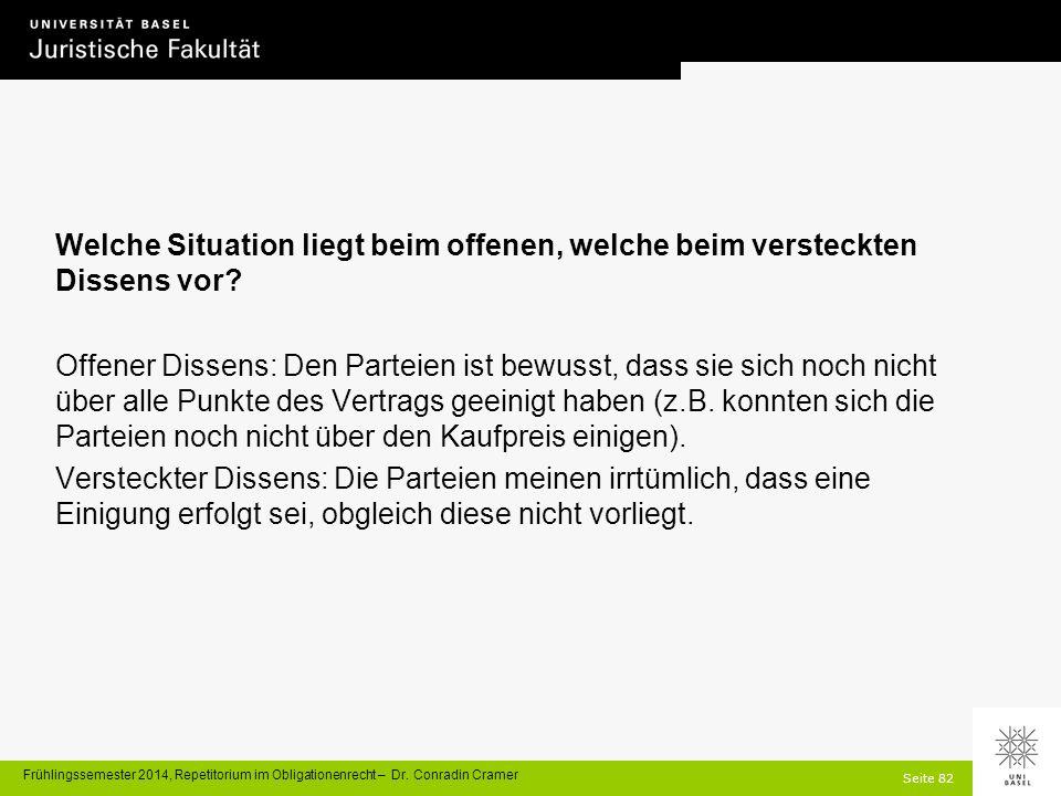 Seite 82 Frühlingssemester 2014, Repetitorium im Obligationenrecht – Dr.