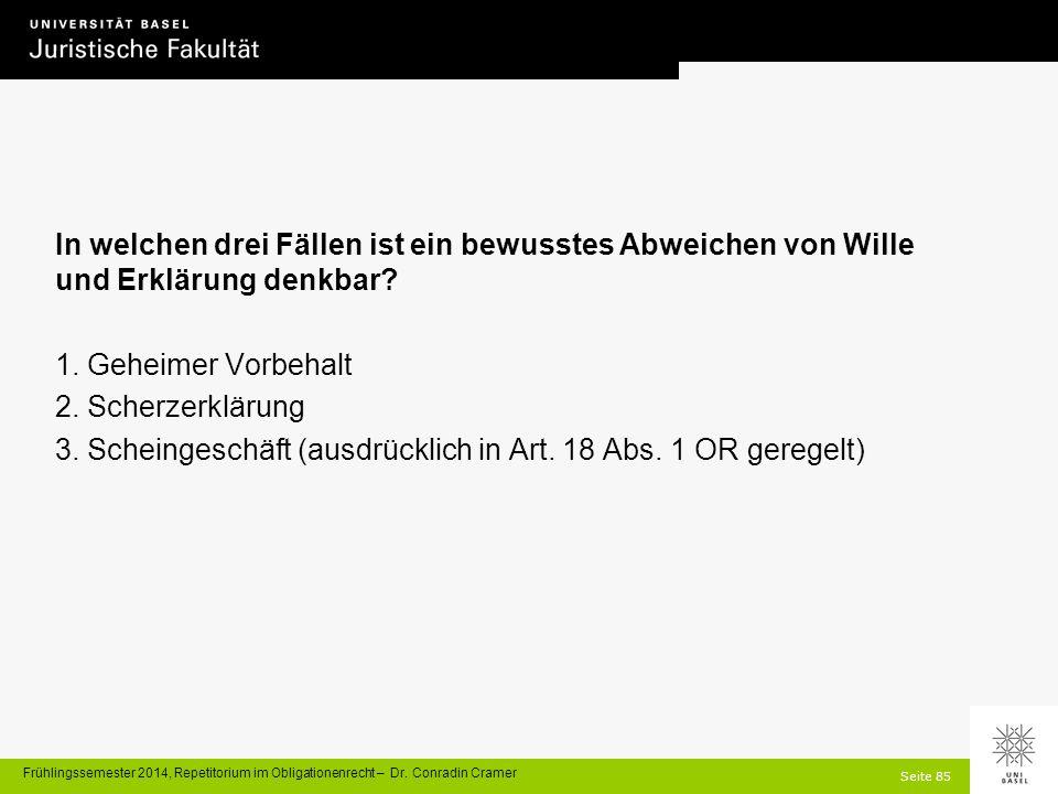Seite 85 Frühlingssemester 2014, Repetitorium im Obligationenrecht – Dr.