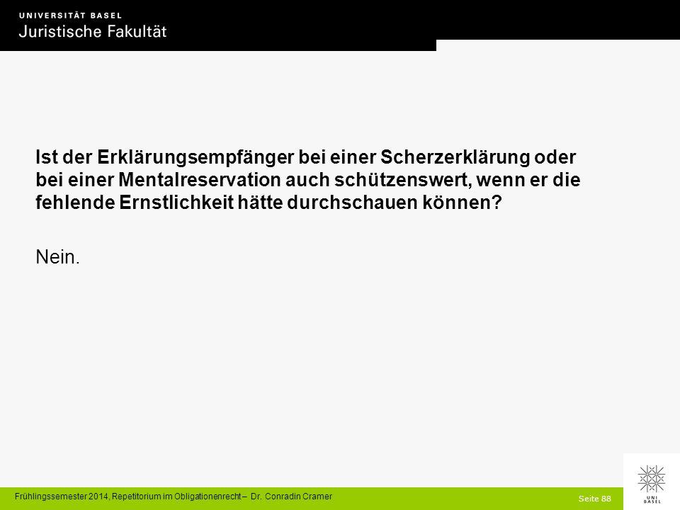 Seite 88 Frühlingssemester 2014, Repetitorium im Obligationenrecht – Dr.