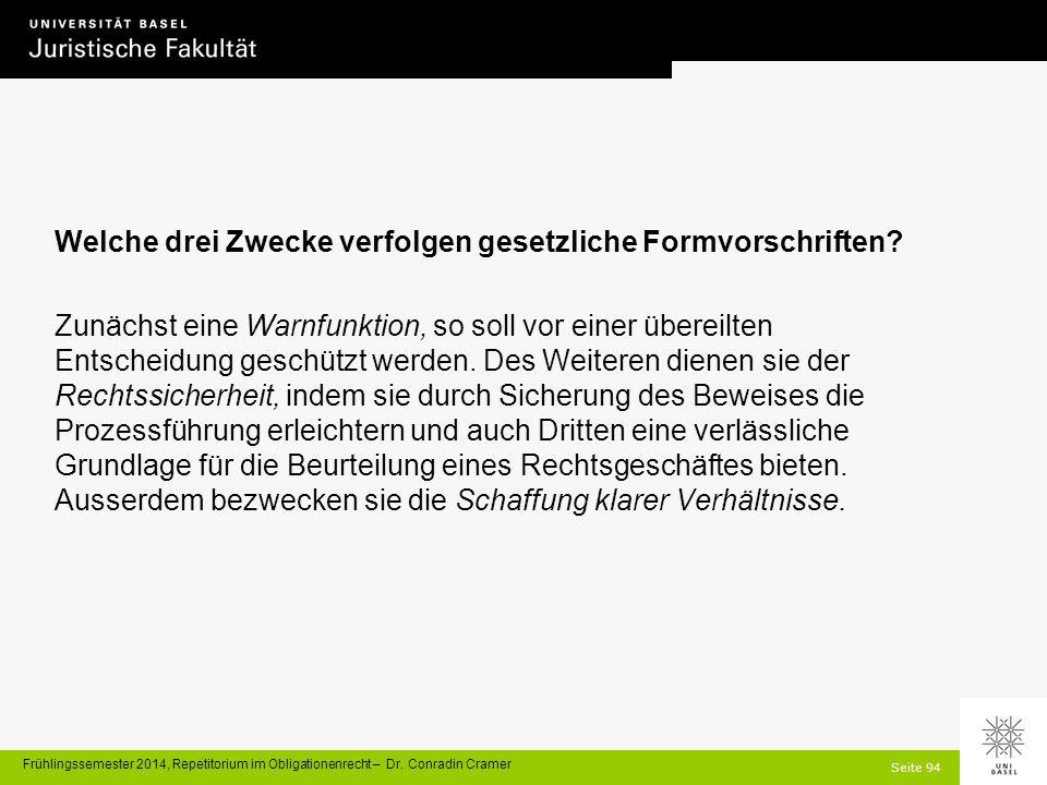 Seite 94 Frühlingssemester 2014, Repetitorium im Obligationenrecht – Dr.
