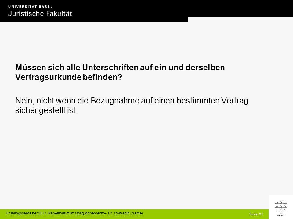 Seite 97 Frühlingssemester 2014, Repetitorium im Obligationenrecht – Dr.