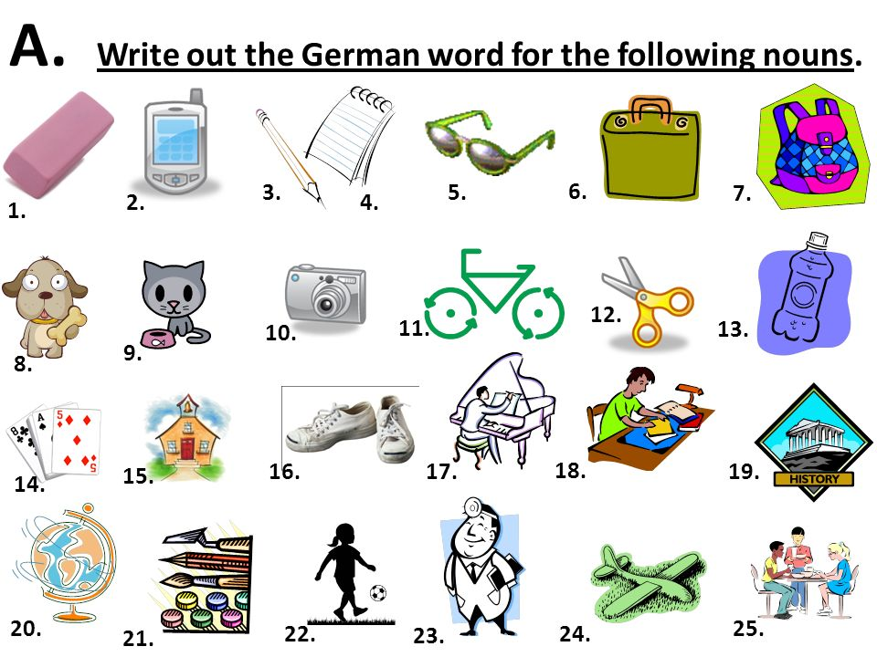 A. Write out the German word for the following nouns.