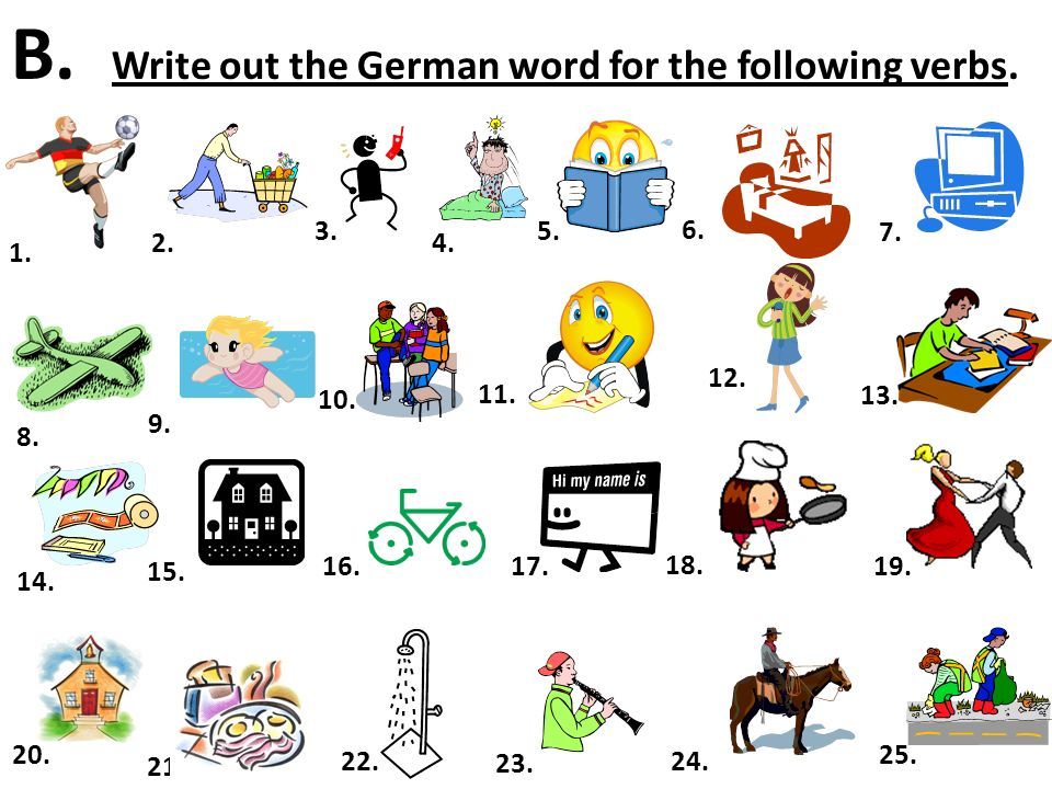 B. Write out the German word for the following verbs.