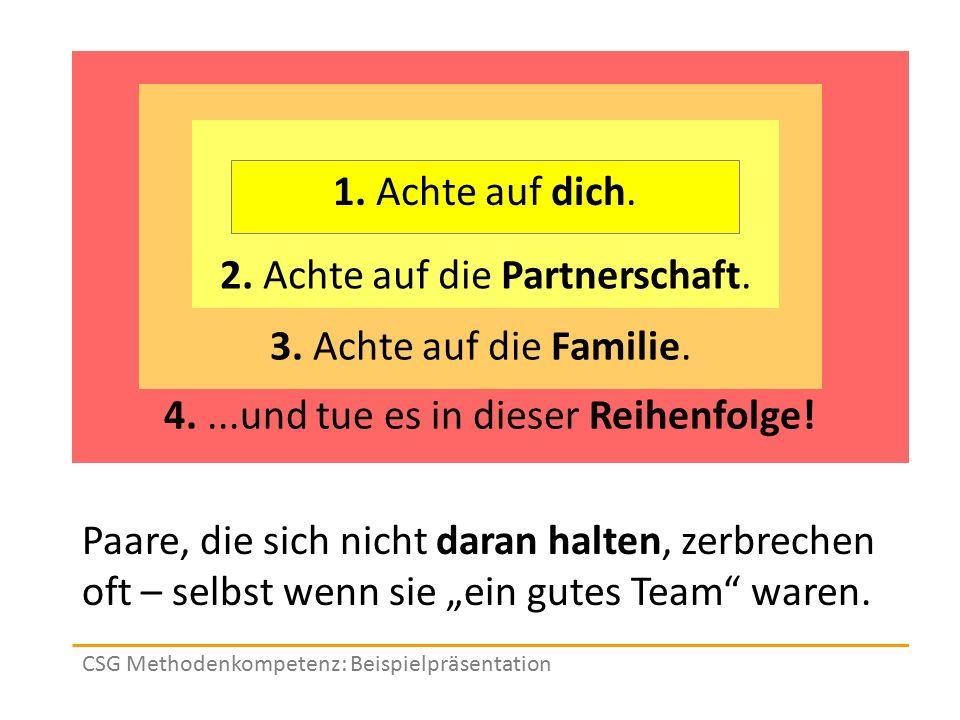 Vier Grundwahrheiten 4....und tue es in dieser Reihenfolge! 3. Achte auf die Familie. CSG Methodenkompetenz: Beispielpräsentation Paare, die sich nich