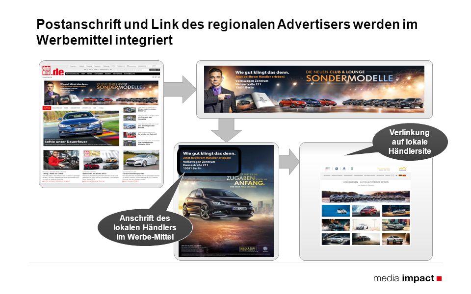 Postanschrift und Link des regionalen Advertisers werden im Werbemittel integriert 25 Anschrift des lokalen Händlers im Werbe-Mittel Verlinkung auf lokale Händlersite