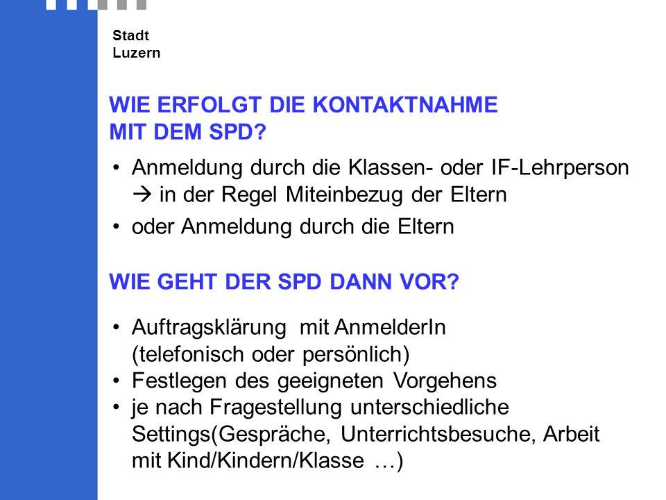 Stadt Luzern WIE ERFOLGT DIE KONTAKTNAHME MIT DEM SPD.