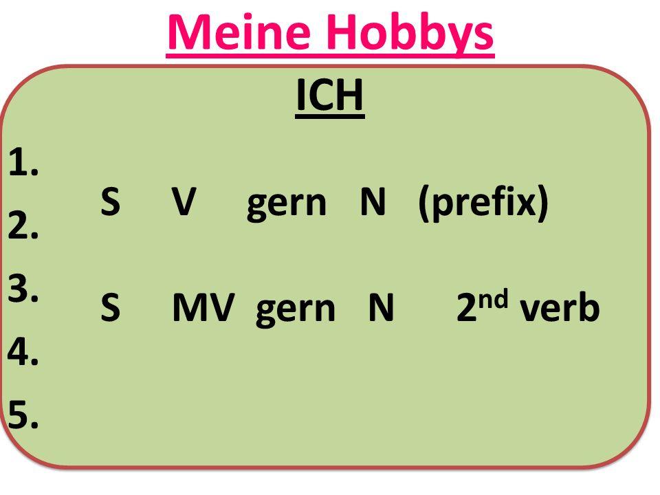 Meine Hobbys ICH 1. 2. 3. 4. 5. S V gern N (prefix) S MV gern N 2 nd verb