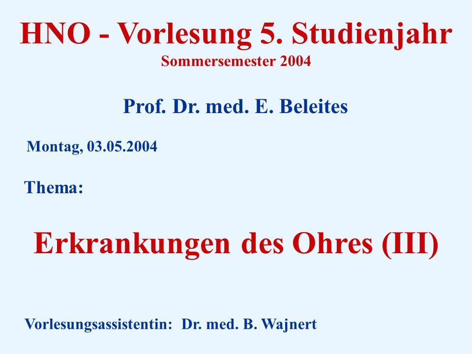 HNO - Vorlesung 5.Studienjahr Sommersemester 2004 Prof.