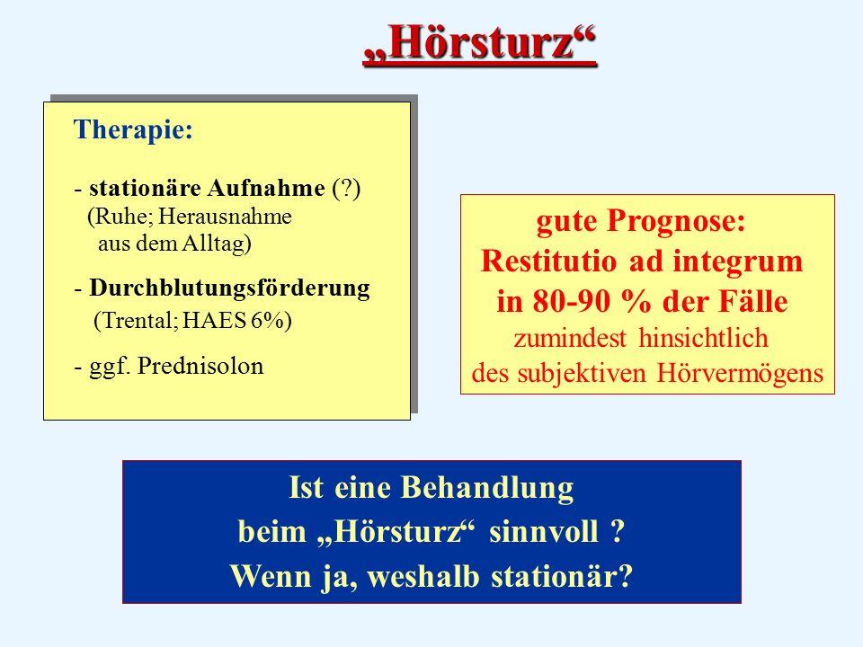 Therapie: - stationäre Aufnahme (?) (Ruhe; Herausnahme aus dem Alltag) - Durchblutungsförderung (Trental; HAES 6%) - ggf.