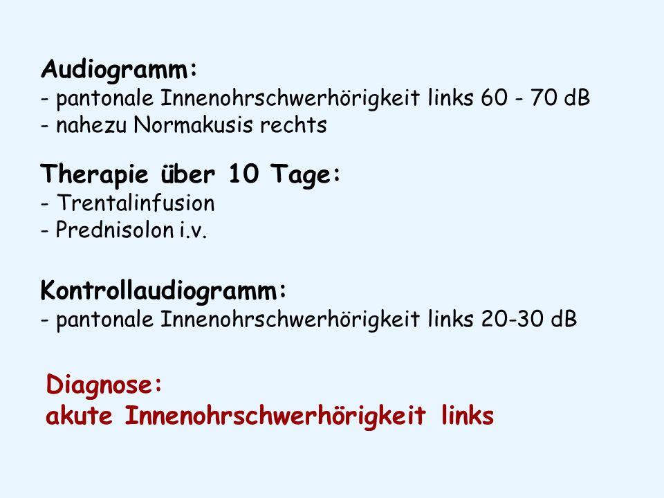 Audiogramm: - pantonale Innenohrschwerhörigkeit links 60 - 70 dB - nahezu Normakusis rechts Therapie über 10 Tage: - Trentalinfusion - Prednisolon i.v.