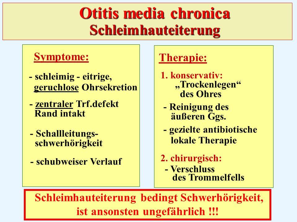 Symptome: - schleimig - eitrige, geruchlose Ohrsekretion - zentraler Trf.defekt Rand intakt - Schallleitungs- schwerhörigkeit - schubweiser Verlauf Therapie: 1.