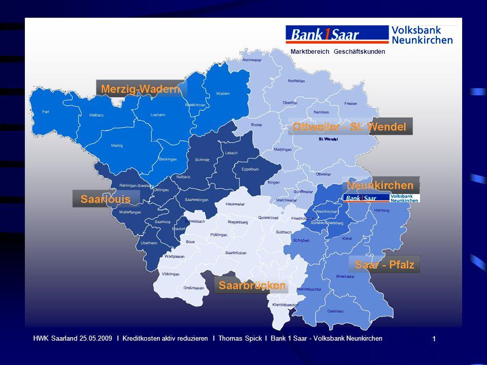 Marktbereich Geschäftskunden 1 HWK Saarland 25.05.2009 I Kreditkosten aktiv reduzieren I Thomas Spick I Bank 1 Saar - Volksbank Neunkirchen