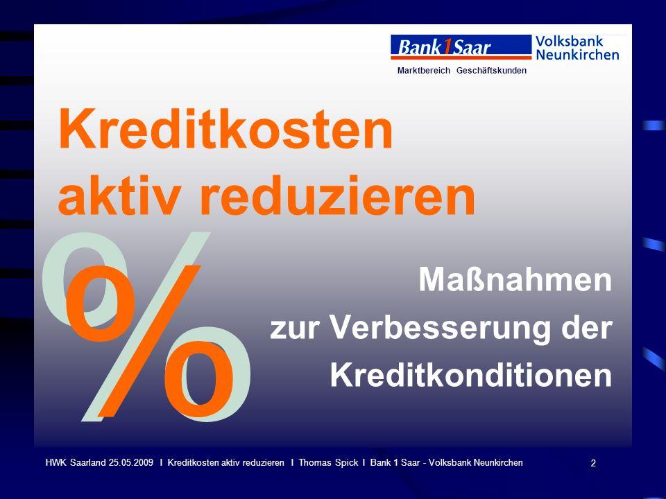 Marktbereich Geschäftskunden 2 HWK Saarland 25.05.2009 I Kreditkosten aktiv reduzieren I Thomas Spick I Bank 1 Saar - Volksbank Neunkirchen Kreditkost