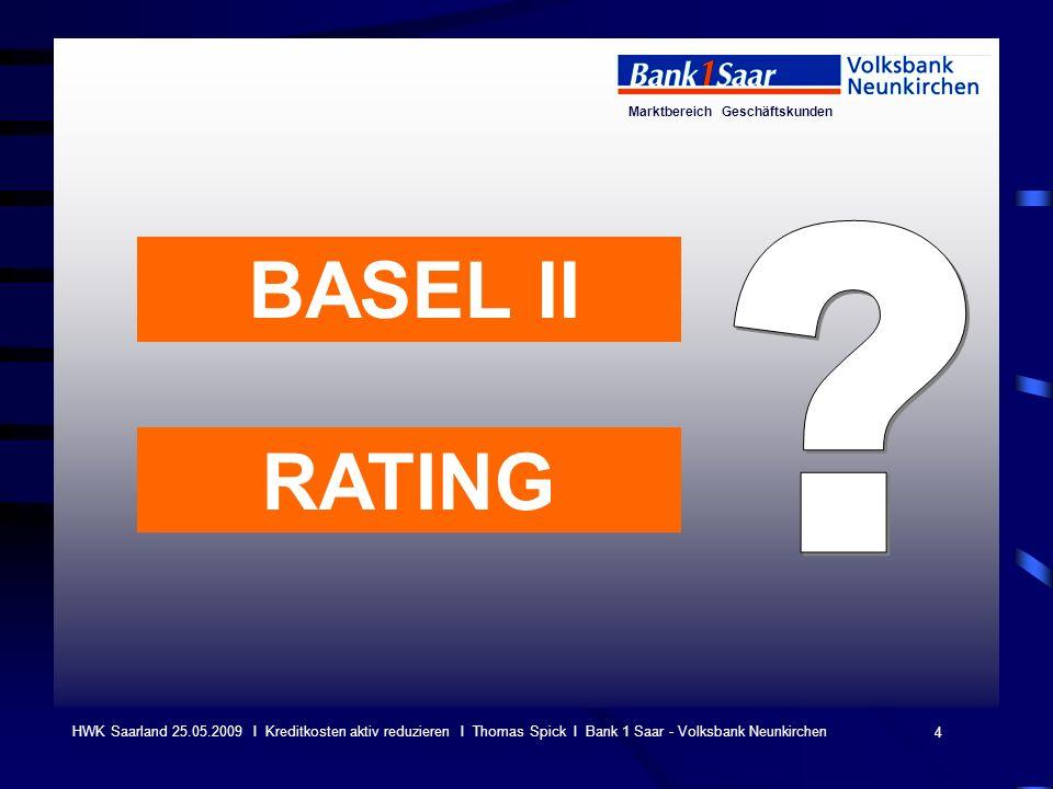 Marktbereich Geschäftskunden 4 HWK Saarland 25.05.2009 I Kreditkosten aktiv reduzieren I Thomas Spick I Bank 1 Saar - Volksbank Neunkirchen BASEL II R