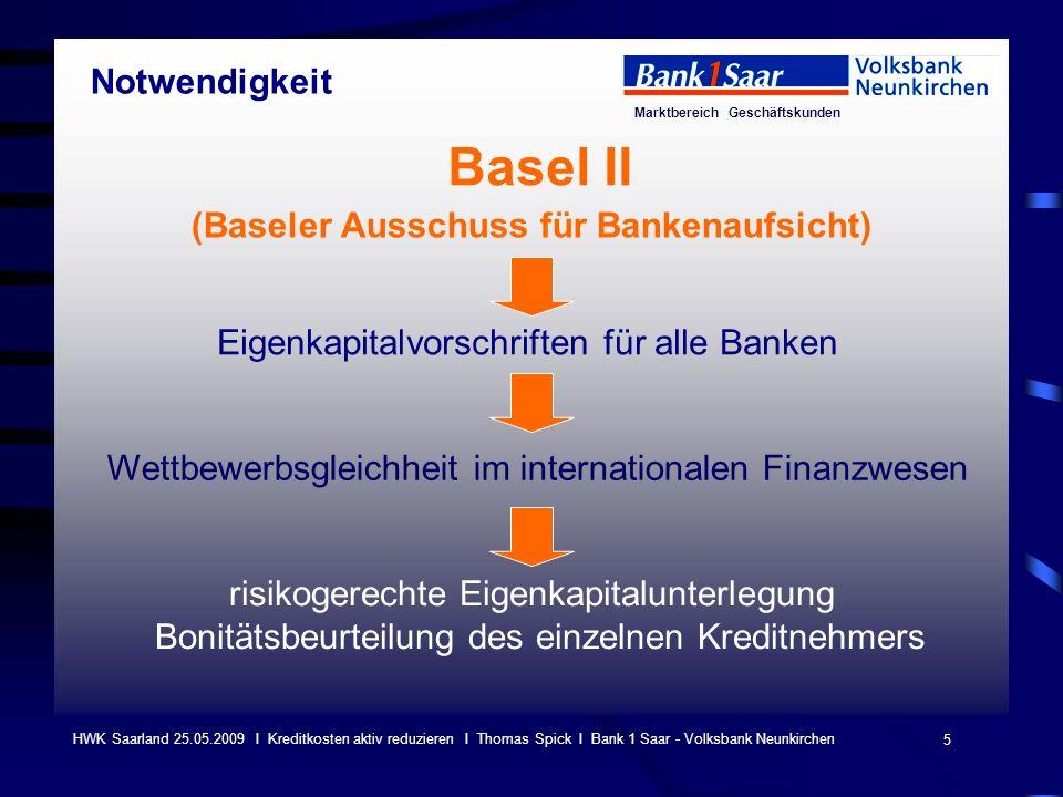 Marktbereich Geschäftskunden 5 HWK Saarland 25.05.2009 I Kreditkosten aktiv reduzieren I Thomas Spick I Bank 1 Saar - Volksbank Neunkirchen Basel II (