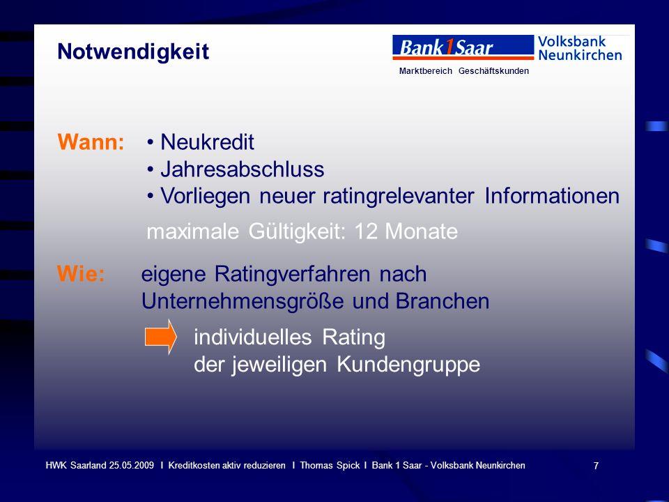 Marktbereich Geschäftskunden 7 HWK Saarland 25.05.2009 I Kreditkosten aktiv reduzieren I Thomas Spick I Bank 1 Saar - Volksbank Neunkirchen Wann: Neuk