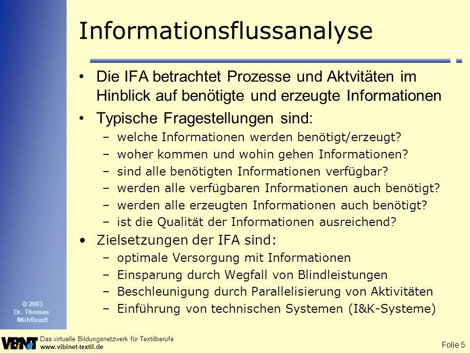 Folie 6 Das virtuelle Bildungsnetzwerk für Textilberufe www.vibinet-textil.de © 2003 Dr.