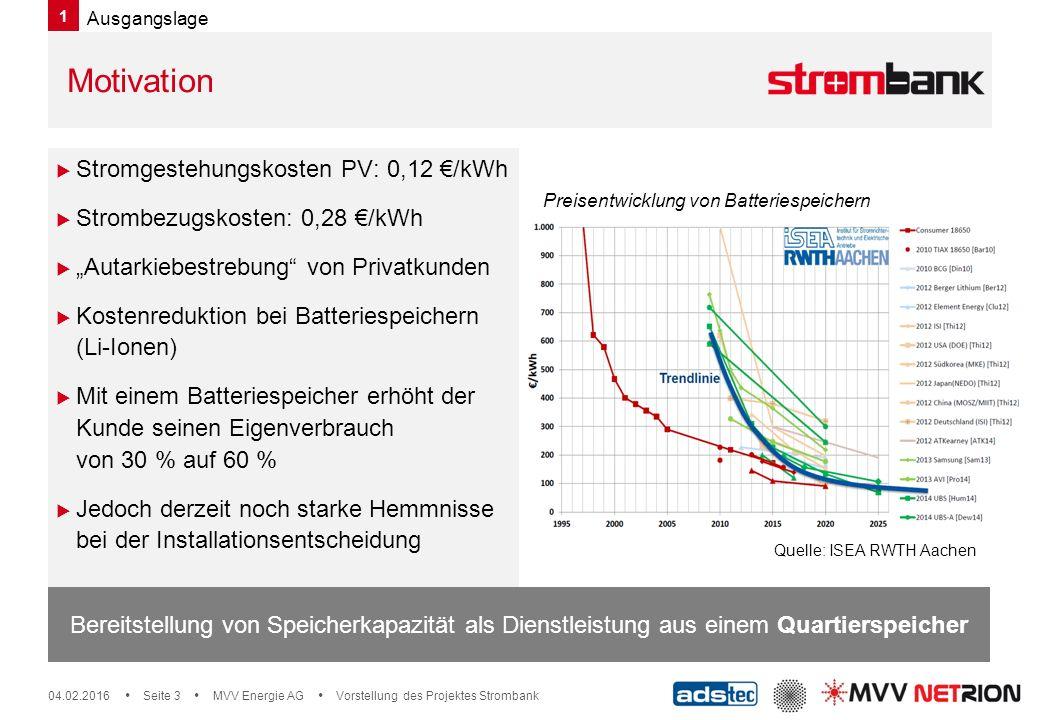 """04.02.2016  Seite 3  MVV Energie AG  Vorstellung des Projektes Strombank Bereitstellung von Speicherkapazität als Dienstleistung aus einem Quartierspeicher  Stromgestehungskosten PV: 0,12 €/kWh  Strombezugskosten: 0,28 €/kWh  """"Autarkiebestrebung von Privatkunden  Kostenreduktion bei Batteriespeichern (Li-Ionen)  Mit einem Batteriespeicher erhöht der Kunde seinen Eigenverbrauch von 30 % auf 60 %  Jedoch derzeit noch starke Hemmnisse bei der Installationsentscheidung Motivation Preisentwicklung von Batteriespeichern Quelle: ISEA RWTH Aachen 1 Ausgangslage"""