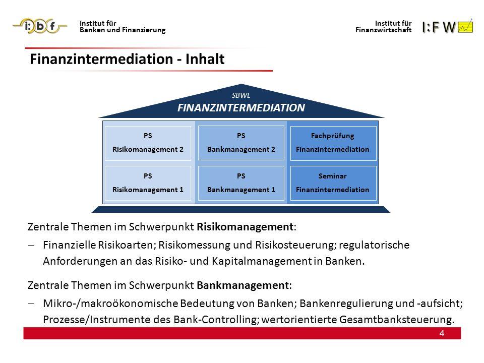 5 Institut für Banken und Finanzierung Institut für Finanzwirtschaft Finanzintermediation - Ausrichtung Fokus: Ganzheitliches Verständnis von unmittelbar praxisrelevanten bankwirtschaftlichen Fragestellungen im Sinne einer integrierten Unternehmenssteuerung.