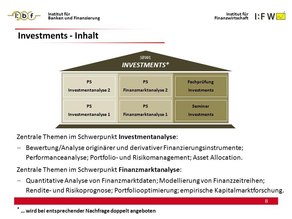 8 Institut für Banken und Finanzierung Institut für Finanzwirtschaft Investments - Inhalt SBWL INVESTMENTS ** Zentrale Themen im Schwerpunkt Investmen