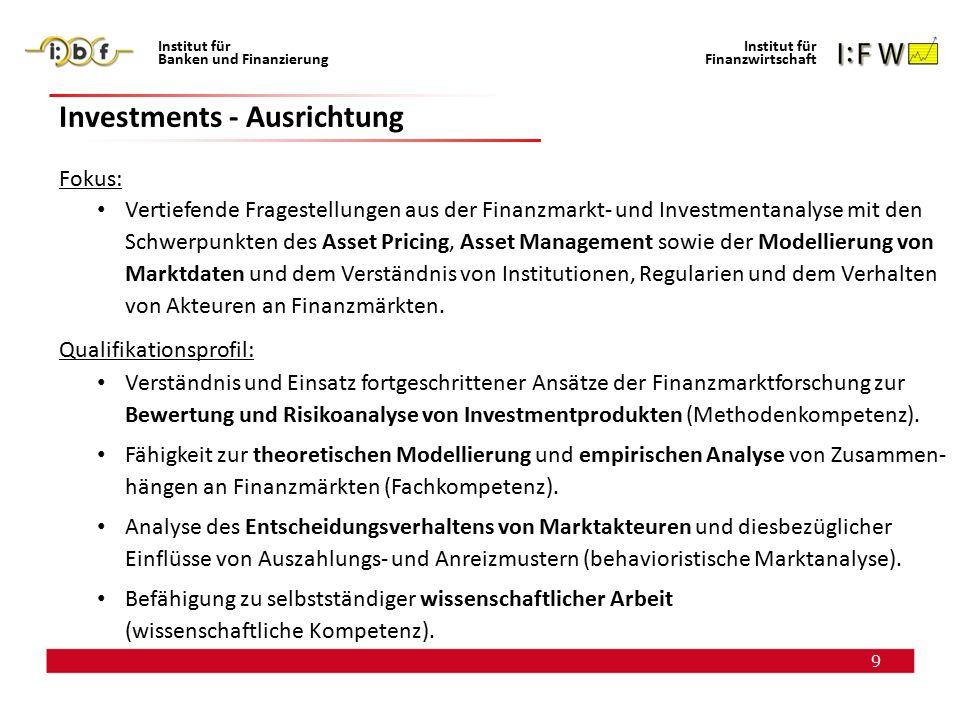 9 Institut für Banken und Finanzierung Institut für Finanzwirtschaft Investments - Ausrichtung Fokus: Vertiefende Fragestellungen aus der Finanzmarkt-
