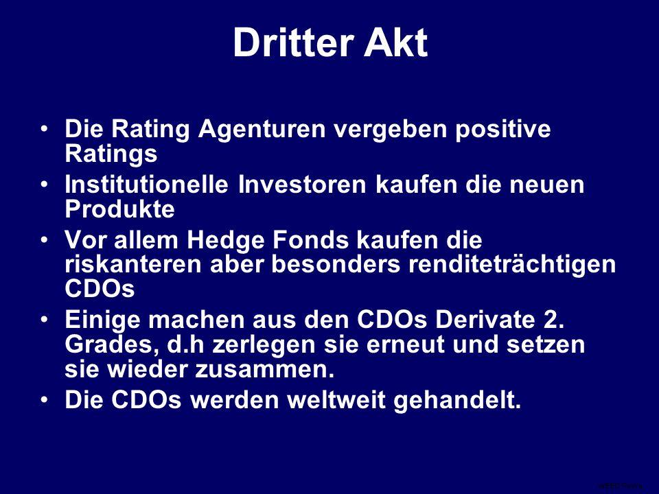 Dritter Akt Die Rating Agenturen vergeben positive Ratings Institutionelle Investoren kaufen die neuen Produkte Vor allem Hedge Fonds kaufen die riskanteren aber besonders renditeträchtigen CDOs Einige machen aus den CDOs Derivate 2.