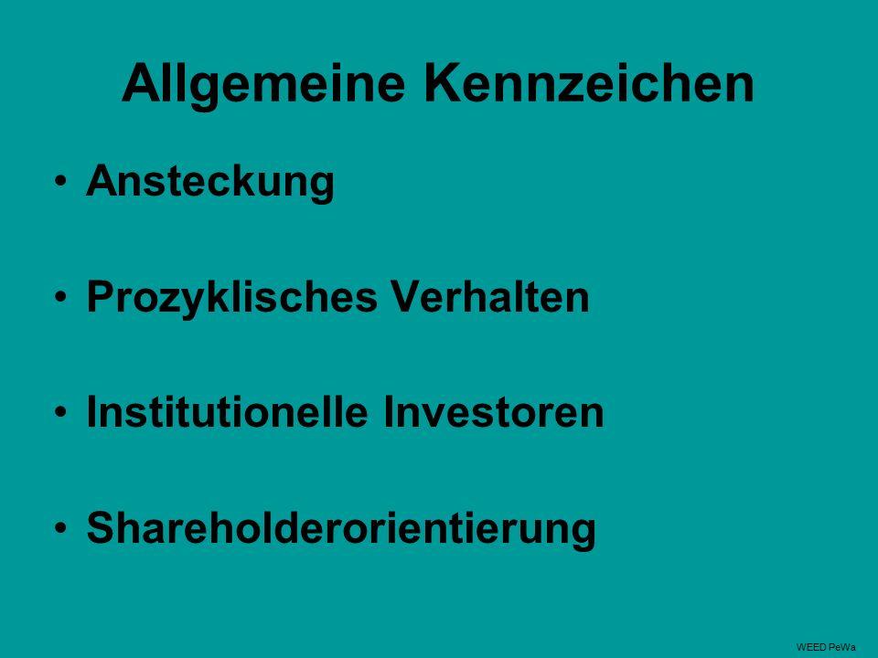 Allgemeine Kennzeichen Ansteckung Prozyklisches Verhalten Institutionelle Investoren Shareholderorientierung WEED PeWa