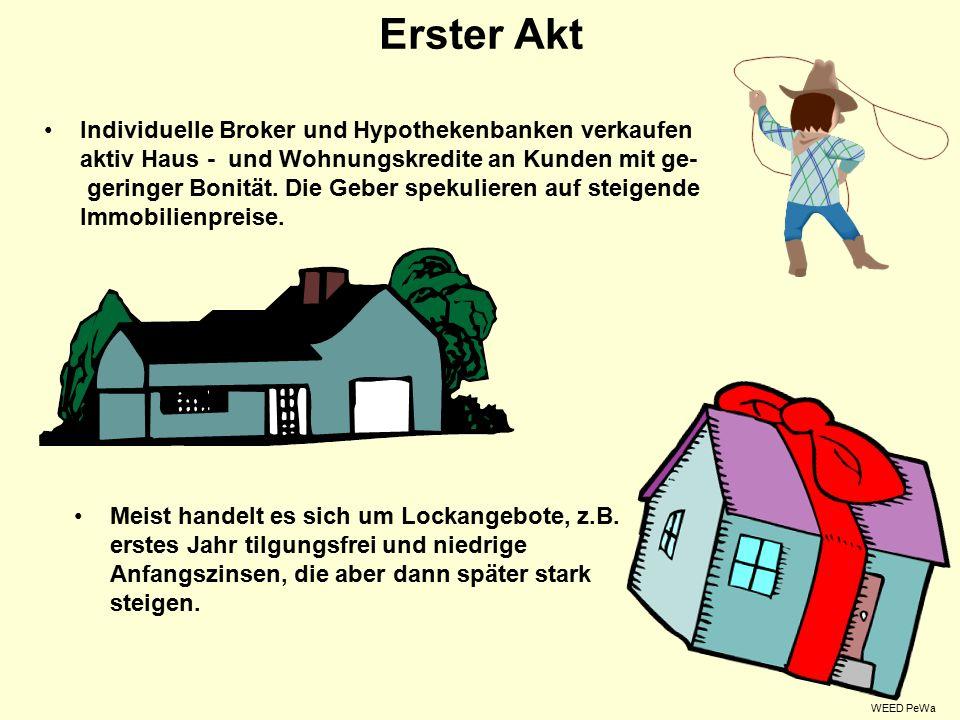 Erster Akt Individuelle Broker und Hypothekenbanken verkaufen aktiv Haus - und Wohnungskredite an Kunden mit ge- geringer Bonität.