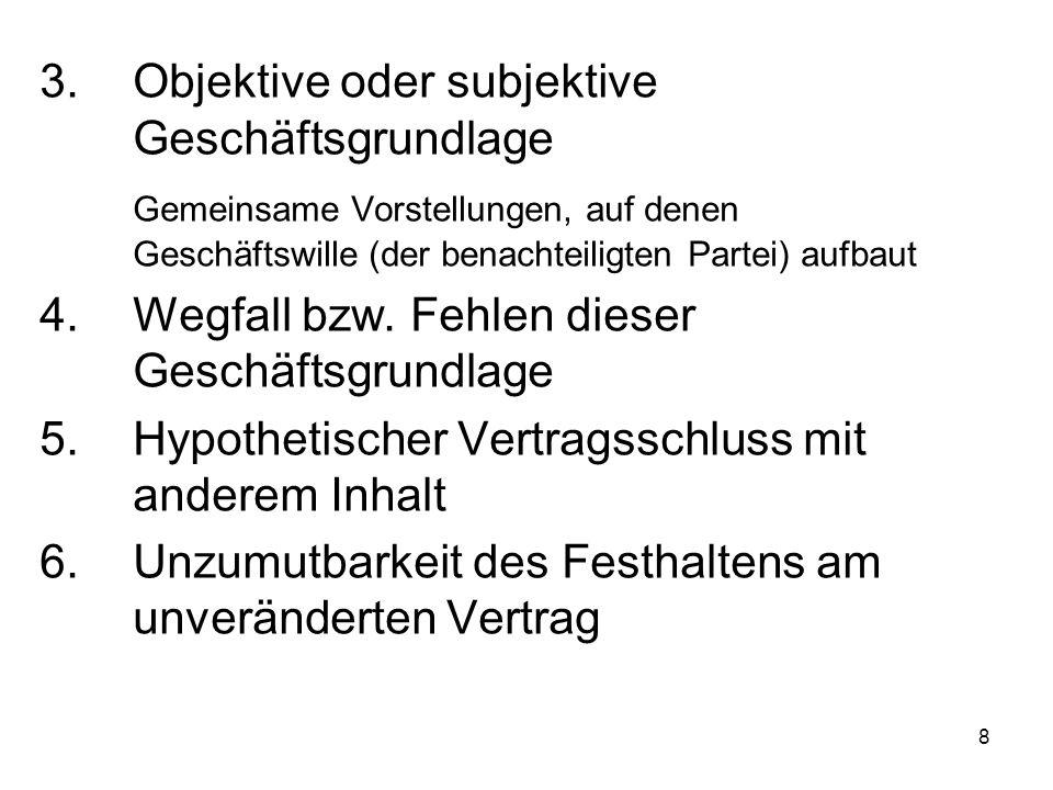 8 3.Objektive oder subjektive Geschäftsgrundlage Gemeinsame Vorstellungen, auf denen Geschäftswille (der benachteiligten Partei) aufbaut 4.Wegfall bzw
