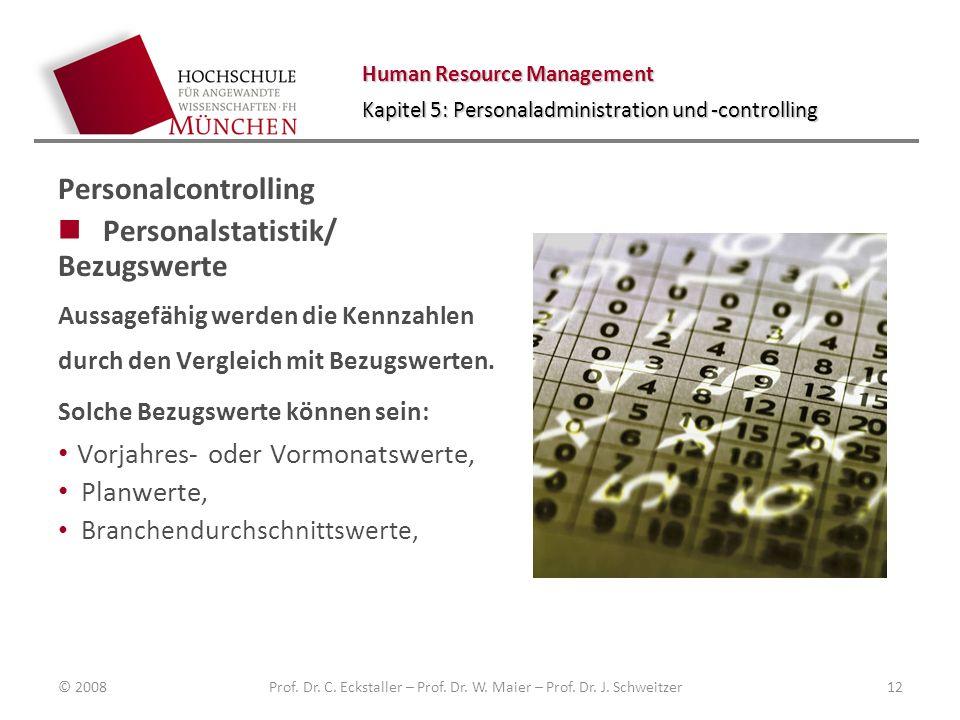 Human Resource Management Kapitel 5: Personaladministration und -controlling Personalcontrolling Personalstatistik/ Bezugswerte Aussagefähig werden die Kennzahlen durch den Vergleich mit Bezugswerten.