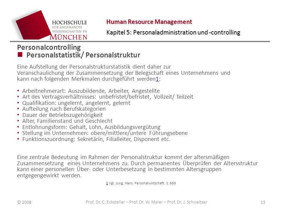 Human Resource Management Kapitel 5: Personaladministration und -controlling Personalcontrolling Personalstatistik/ Personalstruktur Eine Aufstellung