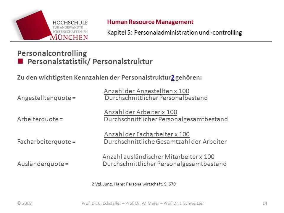 Human Resource Management Kapitel 5: Personaladministration und -controlling Personalcontrolling Personalstatistik/ Personalstruktur Zu den wichtigste