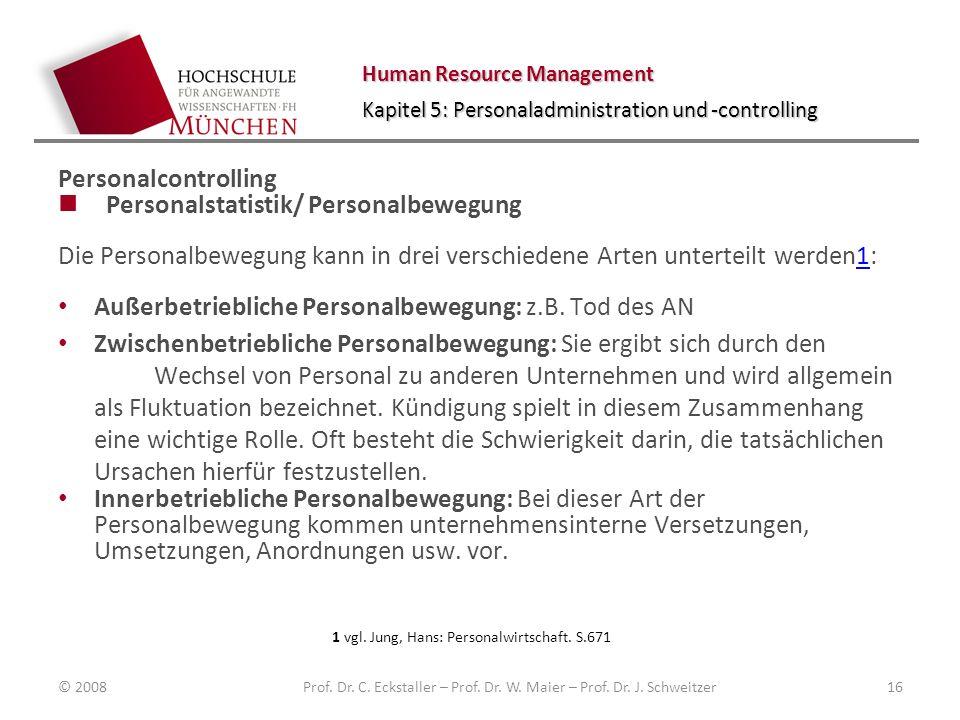 Human Resource Management Kapitel 5: Personaladministration und -controlling Personalcontrolling Personalstatistik/ Personalbewegung Die Personalbewegung kann in drei verschiedene Arten unterteilt werden1:1 Außerbetriebliche Personalbewegung: z.B.