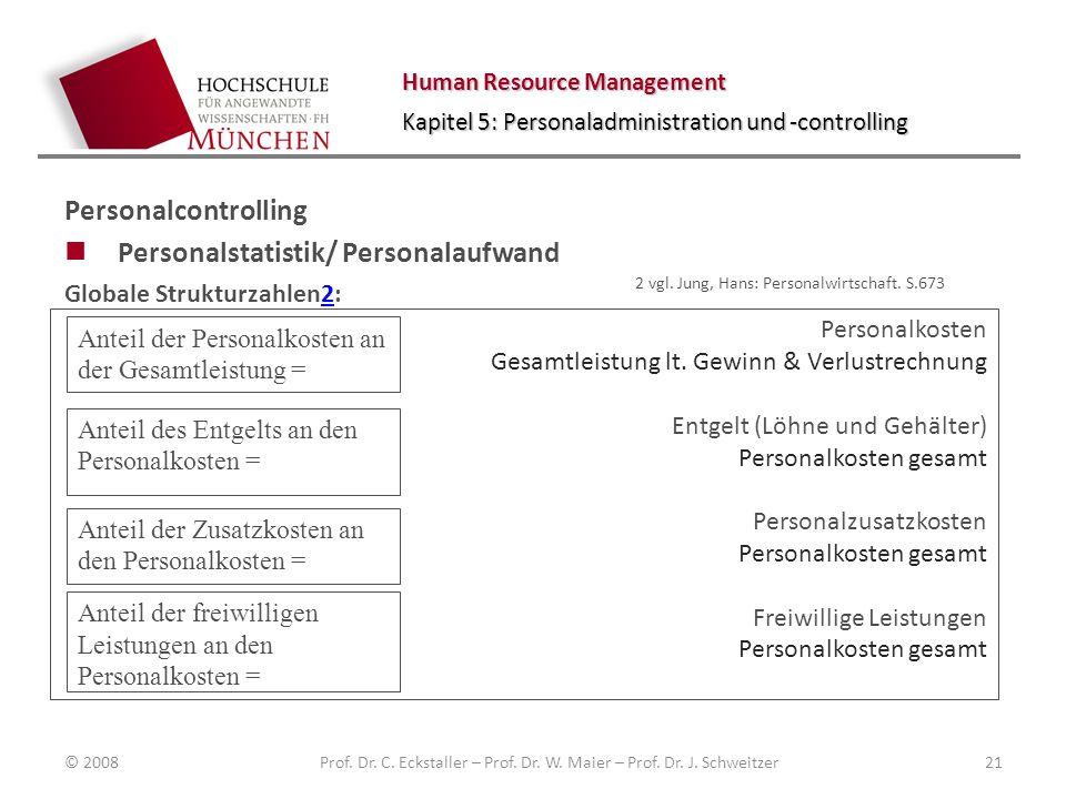 Human Resource Management Kapitel 5: Personaladministration und -controlling Personalcontrolling Personalstatistik/ Personalaufwand Globale Strukturzahlen2:2 © 2008Prof.