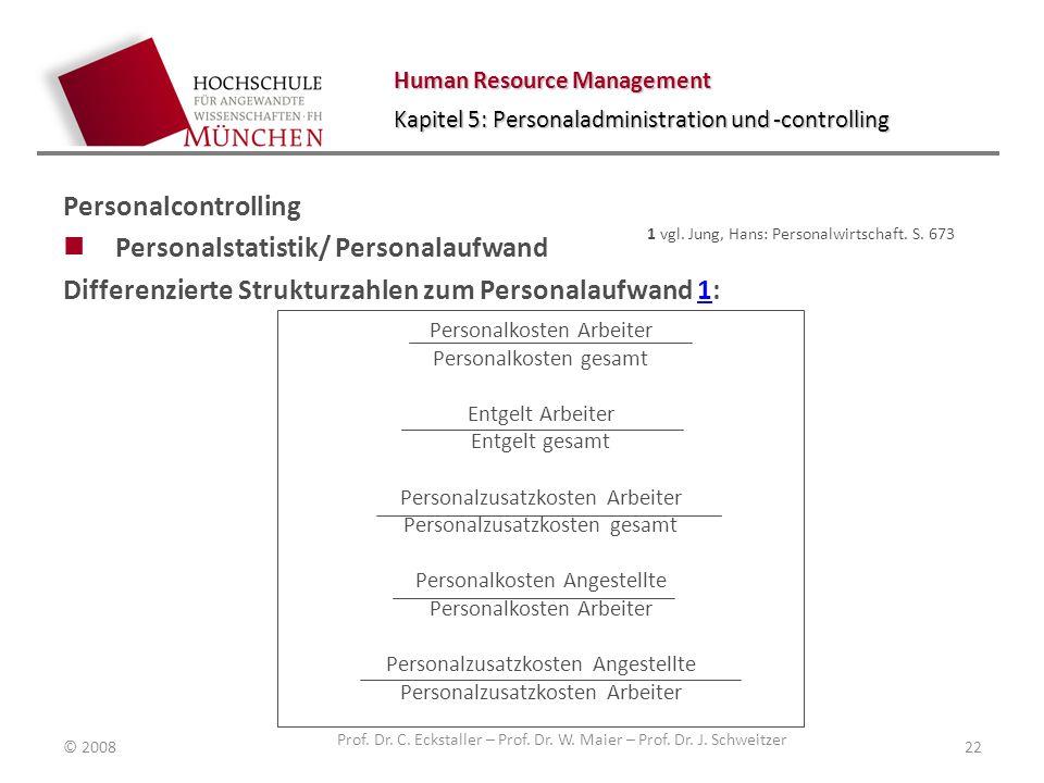 Human Resource Management Kapitel 5: Personaladministration und -controlling Personalcontrolling Personalstatistik/ Personalaufwand Differenzierte Str