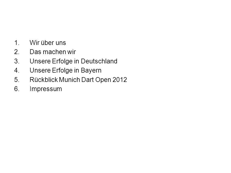 1.Wir über uns 2.Das machen wir 3.Unsere Erfolge in Deutschland 4.Unsere Erfolge in Bayern 5.Rückblick Munich Dart Open 2012 6.Impressum