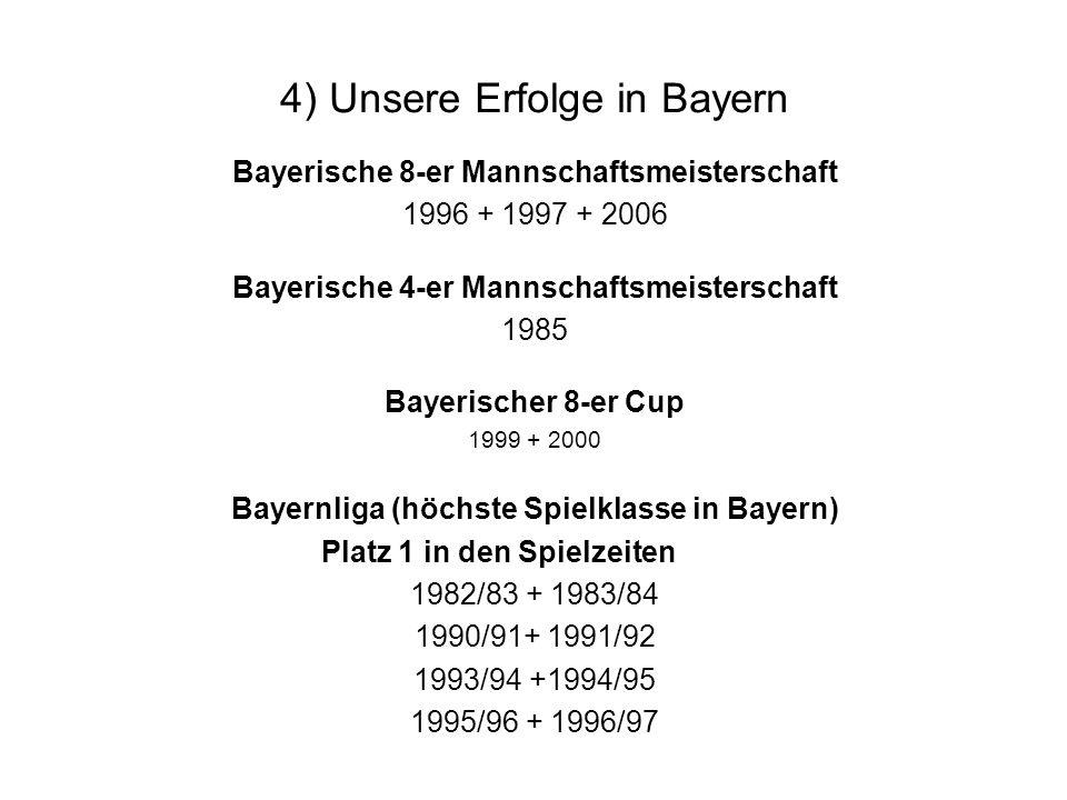 4) Unsere Erfolge in Bayern Bayerische 8-er Mannschaftsmeisterschaft 1996 + 1997 + 2006 Bayerische 4-er Mannschaftsmeisterschaft 1985 Bayerischer 8-er Cup 1999 + 2000 Bayernliga (höchste Spielklasse in Bayern) Platz 1 in den Spielzeiten 1982/83 + 1983/84 1990/91+ 1991/92 1993/94 +1994/95 1995/96 + 1996/97