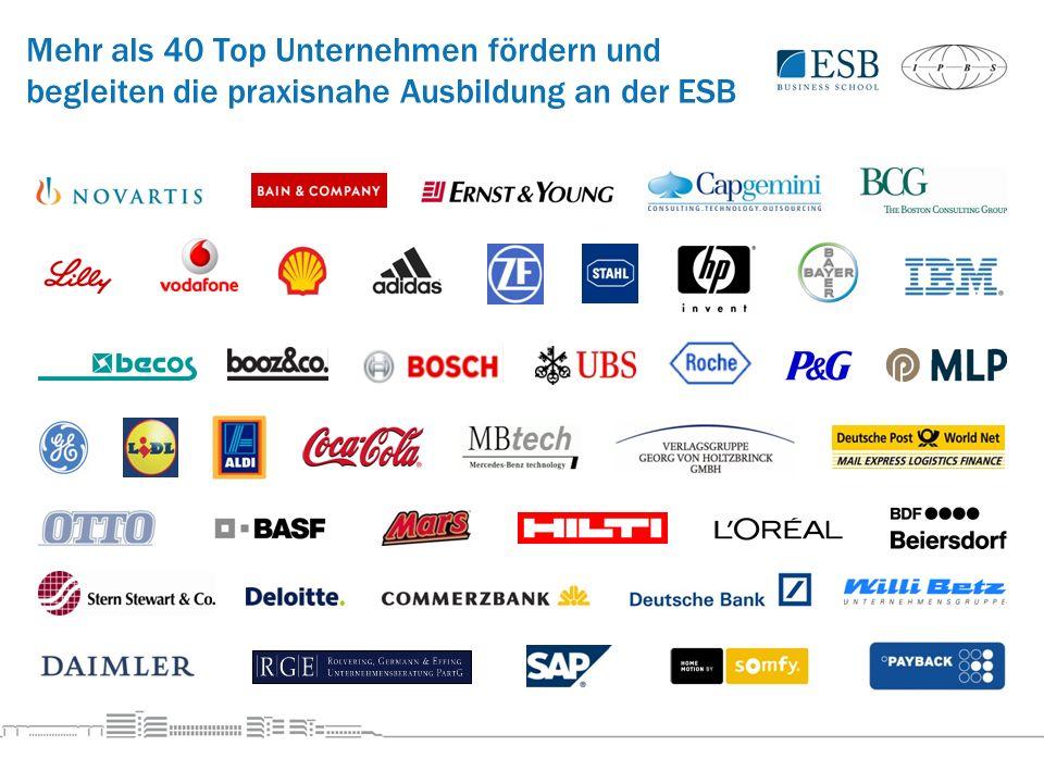 Mehr als 40 Top Unternehmen fördern und begleiten die praxisnahe Ausbildung an der ESB